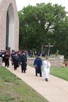 Procession from the Chapel of St. Timothy and St. Titus to the library.