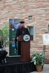 Rev. Benjamin Haupt, Director of the Library, speaking during the groundbreaking for the library renovation.