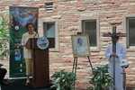 Kay Hasse speaking  during the groundbreaking for the library renovation.